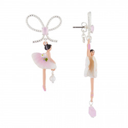 Boucles D'oreilles Pendantes Boucles D'oreilles Tige Ballerine Rose Et Blanche Avec Noeud90,00€ AJDD108T/2Les Néréides