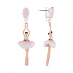 Boucles D'oreilles Pendantes Boucles D'oreilles Tige Ballerine Rose Et Blanche Et Pierre