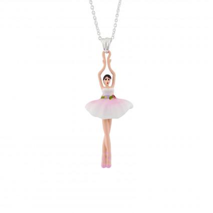 Colliers Pendentifs Collier Pendentif Ballerine Rose Et Blanc