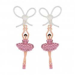 Boucles D'oreilles Clip Boucles D'oreilles Clip Ballerine Strass Rose Et Perle