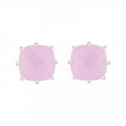 Boucles D'oreilles Tiges Boucles D'oreilles Tige La Diamantine Argentée Pierre Carrée Rose50,00€ AJLD101T/2Les Néréides