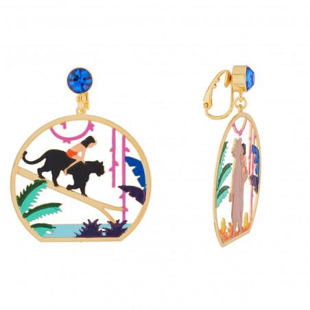 Boucles d'oreilles Eclatante Discrétion :  fleurs, pierre facettée fuschia et perle
