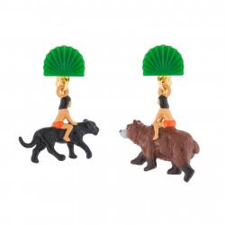 Boucles D'oreilles Originales Boucles D'oreilles Pendantes Asymétriques Clip Mowgli Sur Le Dos De Baloo Et Bagheera75,00€ AJ...