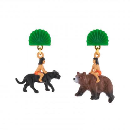 Boucles D'oreilles Boucles D'oreilles Pendantes Asymétriques Tige Mowgli Sur Le Dos De Baloo Et Bagheera