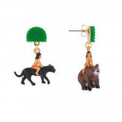 Boucles D'oreilles Boucles D'oreilles Pendantes Asymétriques Tige Mowgli Sur Le Dos De Baloo Et Bagheera75,00€ AJMJ103T/1N2 ...