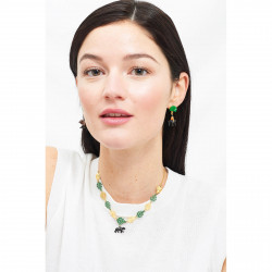 Eclatante Discrétion earrings: flowers, green faceted stone and pearl