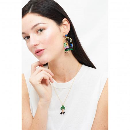 Boucles d'oreilles Eclatante Discrétion :  fleurs, pierre facettée verte et perle
