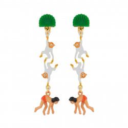 Boucles D'oreilles Originales Boucles D'oreilles Pendantes Clip Mowgli Et Singes75,00€ AJMJ106C/1N2 by Les Néréides