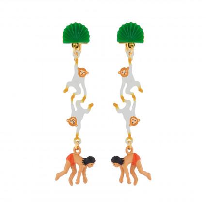 Boucles D'oreilles Boucles D'oreilles Pendantes Clip Mowgli Et Singes