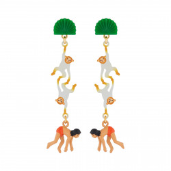 Boucles D'oreilles Originales Boucles D'oreilles Pendantes Tiges Mowgli Et Singes75,00€ AJMJ106T/1N2 by Les Néréides