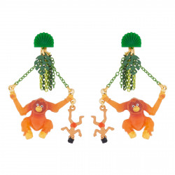 Boucles D'oreilles Originales Boucles D'oreilles Pendantes Clip Mowgli Et Roi Des Singes85,00€ AJMJ110C/1N2 by Les Néréides