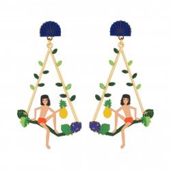 Boucles D'oreilles Originales Boucles D'oreilles Créoles Tige Mowgli Sur Branche D'arbre80,00€ AJMJ114T/1N2 by Les Néréides