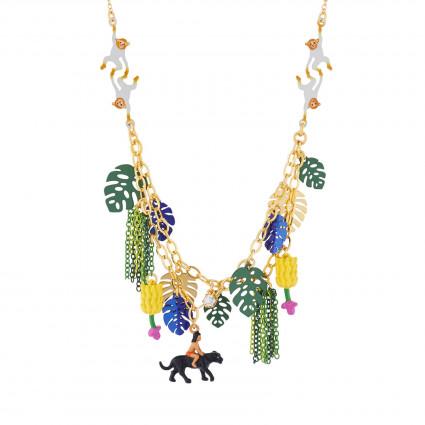 Colliers Collier Deux Rangs Mowgli, Bagheera Et Les Singes Dans La Jungle Luxuriante
