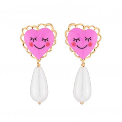 Boucles D'oreilles Boucles D'oreilles Pendantes Tige Cœur Rose Et Perle