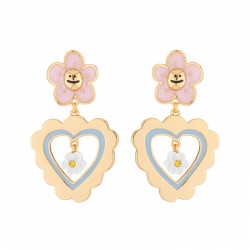 Boucles D'oreilles Boucles D'oreilles Pendantes Clip Petite Marguerite Rose Et Coeur95,00€ AJRB107C/1N2 by Les Néréides