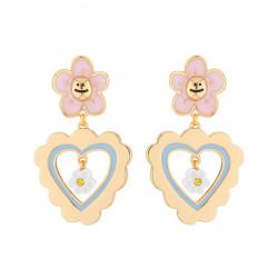 Boucles D'oreilles Boucles D'oreilles Pendantes Tige Petite Marguerite Rose Et Cœur