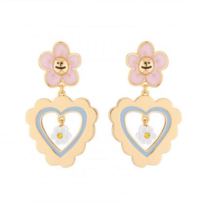 Boucles D'oreilles Boucles D'oreilles Pendantes Tige Petite Marguerite Rose Et Cœur95,00€ AJRB107T/1N2 by Les Néréides