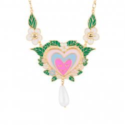 Colliers Collier Plastron Cœur Rose Et Perle