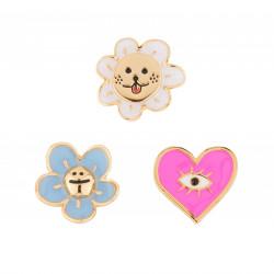 Accessoires Originaux Pins Soleil Rieur, Cœur Rose Et Petite Fleur Bleue65,00€ AJRB503/1N2 by Les Néréides