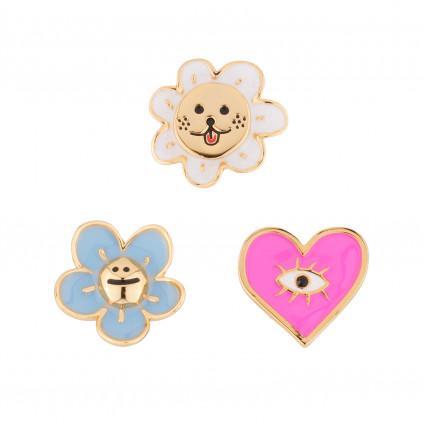 Accessoires Pins Soleil Rieur, Cœur Rose Et Petite Fleur Bleue65,00€ AJRB503/1N2 by Les Néréides