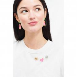 Accessoires Pins Soleil Rieur, Cœur Rose Et Petite Fleur Bleue