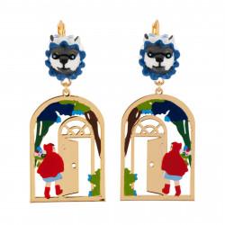 Boucles D'oreilles Boucles D'oreilles Petit Chaperon Rouge Entrant Chez La Grand-mère