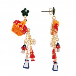 Boucles D'oreilles Boucles D'oreilles Panier Garni Déversant Les Miniatures Du Petit Chaperon Rouge Et Grand-mère