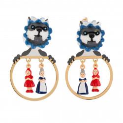 Boucles D'oreilles Petites Créoles Clip Loup Déguisé Et Miniatures Du Petit Chaperon Rouge Et Grand-mère75,00€ AFCR110C/1N2 ...