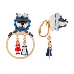 Boucles D'oreilles Petites Créoles Clip Loup Déguisé Et Miniatures Du Petit Chaperon Rouge Et Grand-mère