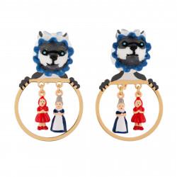 Boucles D'oreilles Petites Créoles Loup Déguisé Et Miniatures Du Petit Chaperon Rouge Et Grand-mère75,00€ AFCR110D/1N2 by Le...