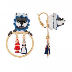 Boucles D'oreilles Petites Créoles Loup Déguisé Et Miniatures Du Petit Chaperon Rouge Et Grand-mère
