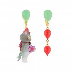 Boucles D'oreilles Boucles D'oreilles Pendantes Asymétriques Clip Chat Et Ballons