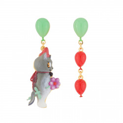 Boucles D'oreilles Boucles D'oreilles Pendantes Asymétriques Tige Chat Et Ballons