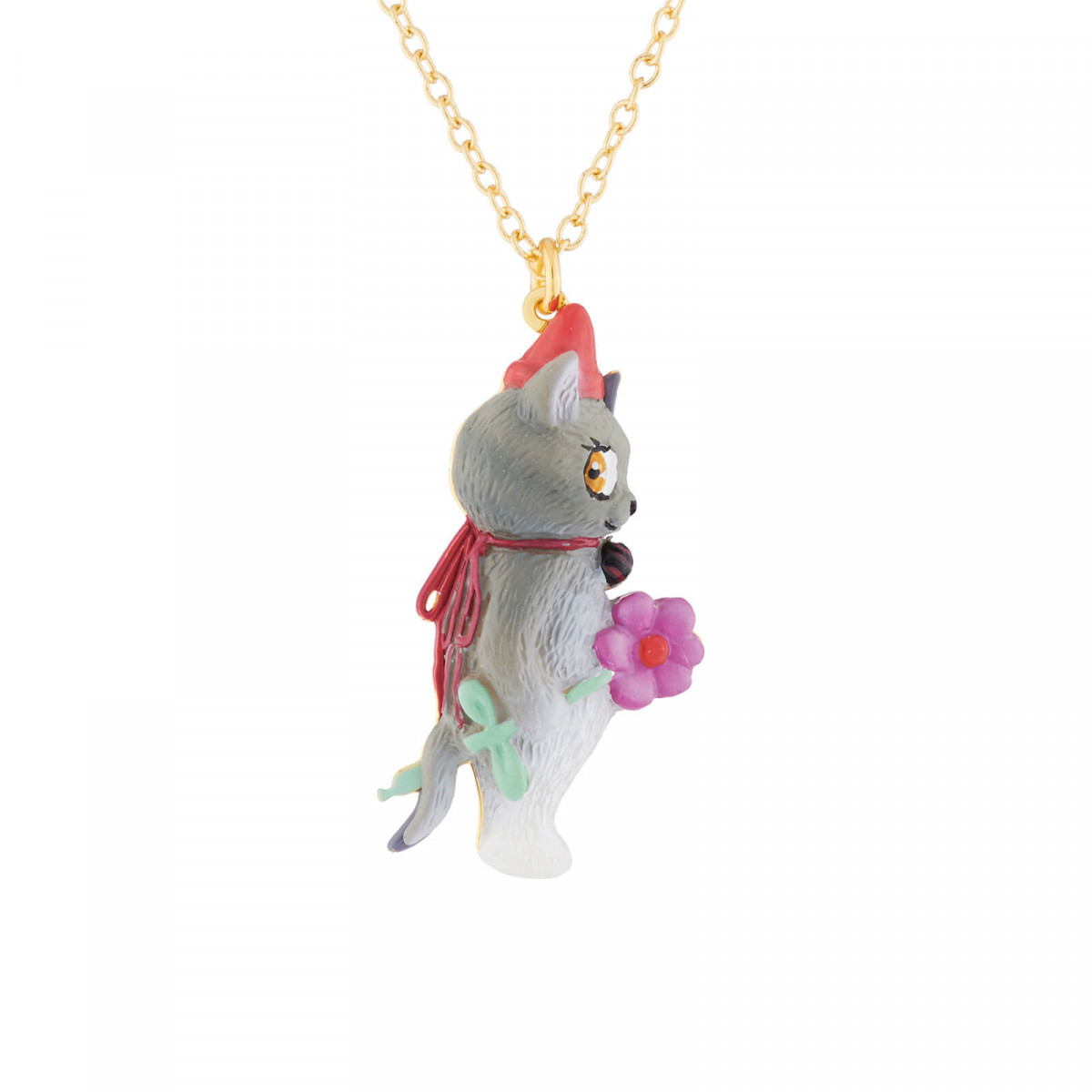 Colliers Collier Fin Pendentif Chat