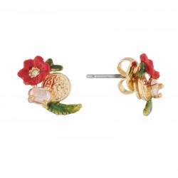 Boucles D'oreilles Tiges Boucles D'oreilles Tige Coquelicot Et Cristal Taillé Sur Soleil Doré