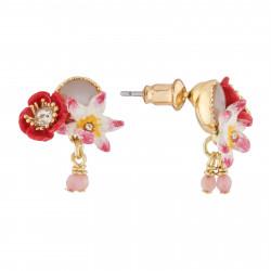 Boucles D'oreilles Tiges Boucles D'oreilles Tige Coquelicot, Fleur Blanche Et Icaque Sur Nacre90,00€ AJED107T/1Les Néréides