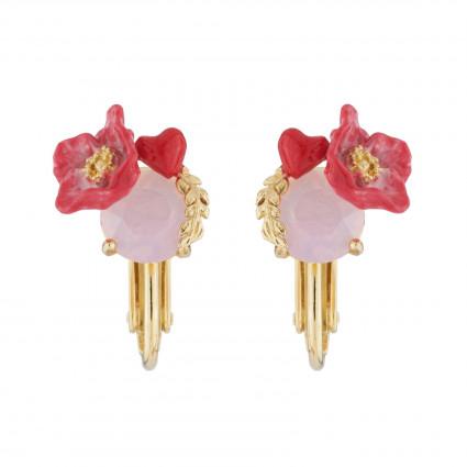 Boucles D'oreilles Clip Boucles D'oreilles Clip Coquelicot Et Cœur Sur Cristal Taillé