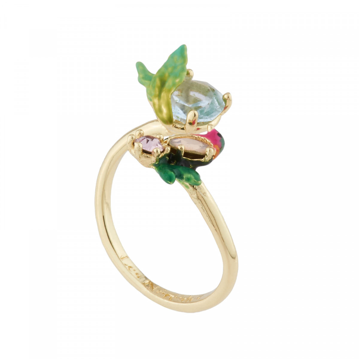 b00ac641634 Robin On Its Branch And Carved Crystal Adjustable Ring