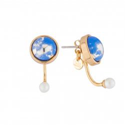 Boucles D'oreilles Boucles D'oreilles Tige Planète Bleue Et Lune