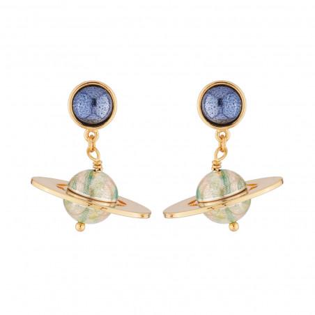Post earrings Pas de Deux white pink stones and ballerina