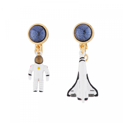 Boucles D'oreilles Boucles D'oreilles Pendantes Asymétriques Clip Fusée Et Astronaute