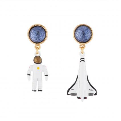 Boucles D'oreilles Boucles D'oreilles Pendantes Asymétriques Tige Fusée Et Astronaute
