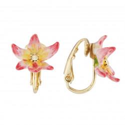 Boucles D'oreilles Clip Boucles D'oreilles Clips Fleur Tropicale Et Cristal