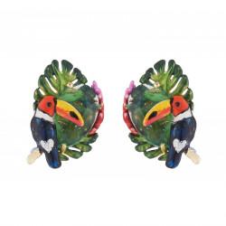Boucles D'oreilles Clip Boucles D'oreilles Clips Toucan, Feuilles Exotique Et Cristal Taillé