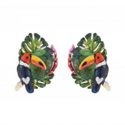 Boucles D'oreilles Tiges Boucles D'oreilles Tiges Toucan, Feuilles Exotique Et Cristal Taillé