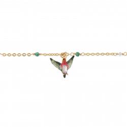 Bracelets Charms Bracelet Charms Feuillage Tropical, Colibri Et Fleur À Cristal