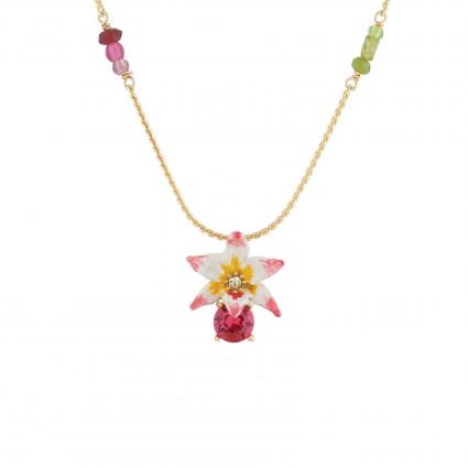 Colliers Pendentifs Collier Sautoir Fleur Tropicale, Cristal Taillé Et Perles De Verre