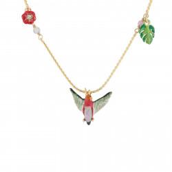 Colliers Pendentifs Collier Sautoir Colibri, Feuillage Tropical Et Fleur