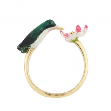 Collier verre taillé vert avec mésange