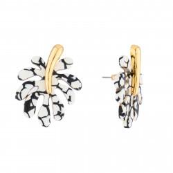 Boucles D'oreilles Boucles D'oreilles Tige Feuille Tropicale Noir Et Blanc
